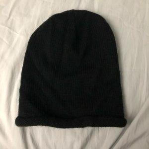 Black, rolled brim knit beanie